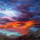 "SALE: ""Night Sky Omen"" Original Oil Painting Landscape Impressionistic by Artist Geri Acosta"