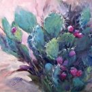 "POPULAR: ""Cactus Found"" Original Impressionistic Landscape Still Life Oil Painting by Geri Acosta"