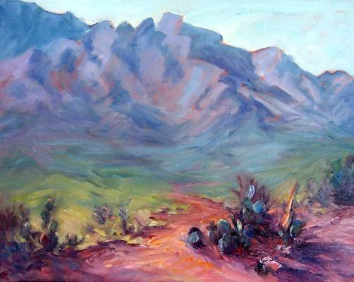 """Catalina Cactus"" An original impressionistic mountain landscape by colorest Geri Acosta"
