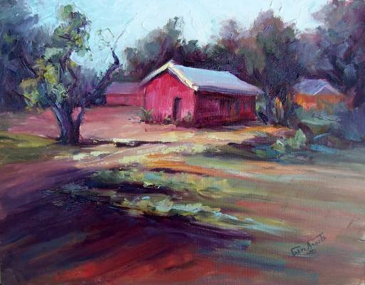 """The Farm"" An original plein air landscape oil by winning colorest Geri Acosta"