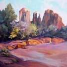 """Cathedral Rock"" Original Sedona Landscape Oil Painting by Winning Colorest Geri Acosta"