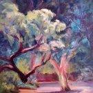 """Arboretum""An original impressionistic plein-air tree landscape painting by artist Geri Acosta"