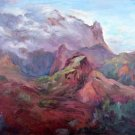 """Misty Mountain"" : A winner! Original plein-air oil landscape by colorest Geri Acosta"