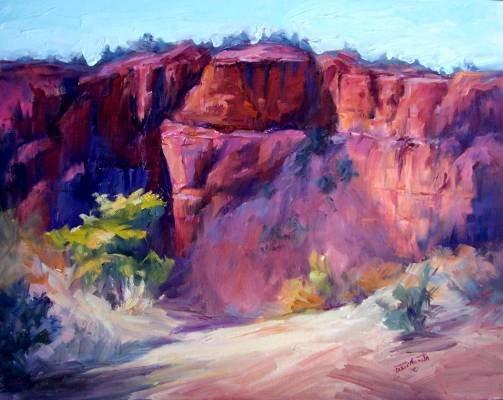 """Red Rocks"" Original Sedona impressionistic oil painting by winning colorest Geri Acosta"