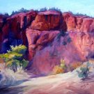 """Red Rocks"" Original Sedona impressionistic oil painting by winning colorest Geri Acosta"