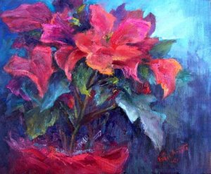 """Holiday Flower"" Original floral impressionistic oil painting by colorest Geri Acosta"