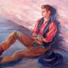 """Lean Lanky Lounge"" Original Cowboy Oil Painting by Winning Artist Geri Acosta"