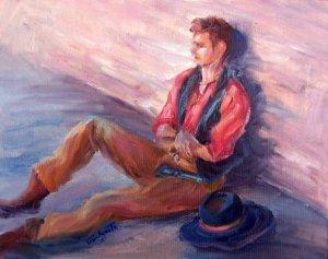 """""""Lean Lanky Lounge"""" Original Cowboy Oil Painting by Winning Artist Geri Acosta"""