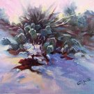 """Snowcapped Cactus"" Original impressionistic Winter Landscape Oil Painting by Geri Acosta"