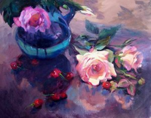 """Fallen Cherries"" Original Floral Still Life Oil by Winning Colorest Geri Acosta"
