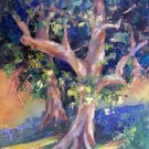 """Dancing Leaves"" Original pleinair tree landscape oil painting by colorest Geri Acosta"