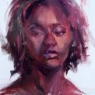 """Beauty In Color"" Original expressionistic oil woman portrait by colorest Geri Acosta"