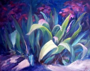 """""""Blossoming Iris"""" Original  floral landscape oil painting by winning colorest, Geri Acosta"""