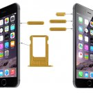 Card Tray & Volume Control Key & Screen Lock Key & Mute Switch Vibrator Key Kit for iPhone 6(Gold)