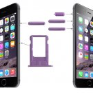 Card Tray & Volume Control Key & Screen Lock Key & Mute Switch Vibrator Key Kit for iPhone 6(Purple)