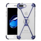 iPhone 7 Plus Type-X Metal Four Angle Anti Falling Protective Case with Ring Holder(Blue)