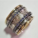 Spinning Ring With Inscriptions In Hebrew Embellished By Spinning Rings With Blue Zarconia