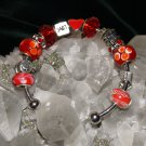 Red 3\4 semi-circle metal bracelet Glass and Metal Pandora style with removable charms