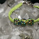 Green Handmade Hemp Woven Bracelet with 3 plastic shiny balls and Metal Clasp