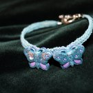 Blue Handmade Hemp Woven Bracelet with 2 Butterflies and Metal Clasp