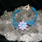 Handcrafted Blue Hemp with 2 Butterflies and 1 flower w/ metal closure