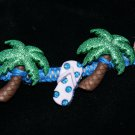 Blue Handcrafted Bracelet with 2 Palm Trees and 2 Sandals Buttons and Metal Closure
