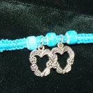 Teal Handmade Hemp Bracelet with 2 Glass Beads and 2 Metal Heart Charms w/ Metal Clasp