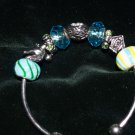 New 9 Blue/Yellow/Green and Metal Charms on 3/4 Wrist Bracelet with Removable Ends Pandora Style