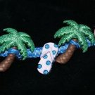 Royal Blue Handcrafted Hemp Bracelet with 2 Palm Trees, 2 Sandals w/ Metal Closu