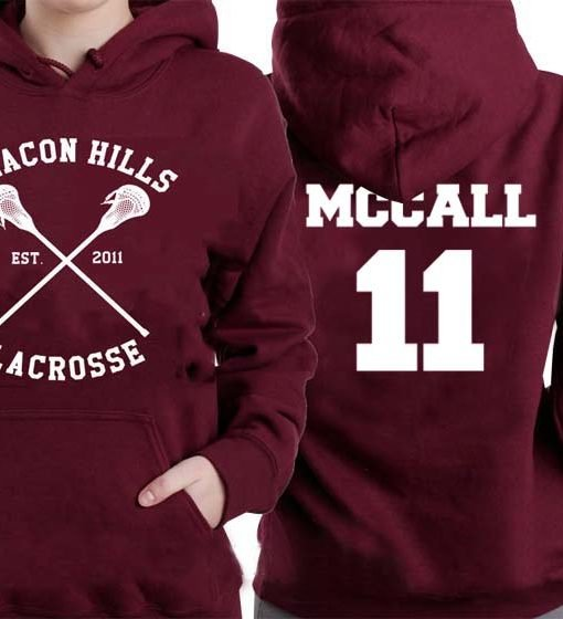 mccall 11 lacrosse beacon hills red maroon Hoodies