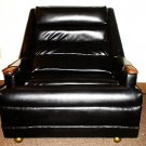 1950's Mid Century Modern Black Leather Lounge Chair