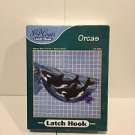 """J&P COATS LATCH HOOK RUG KIT """"ORCAS"""" KILLER WHALES, 17X34 SEALED IN BOX USA"""
