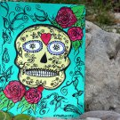 SUGAR SKULL DAY OF THE DEAD HAND PAINTED ORIGINAL MIXED MEDIA ON CANVAS