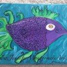 PURPLE TROPICAL FISH  ORIGINAL HAND PAINTED TROPICAL WALL ART