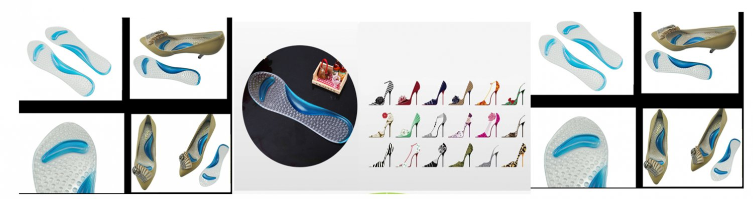 Clear 1Pair Gel Orthotic  Massaging Insoles Insert for high heeled women Ladies shoe