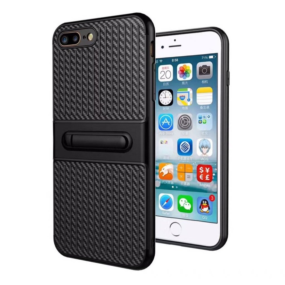 iPhone 7 Plus Verus Carbon Fiber Striped Shell Case Protective Case with Holder