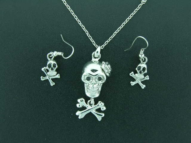 Skull and Crossbones Necklace Earrings set Gothic Goth Punk