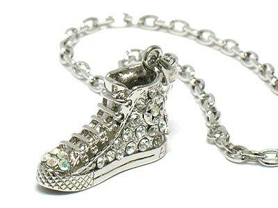 Basketball shoe sneaker crystal silver necklace pendant