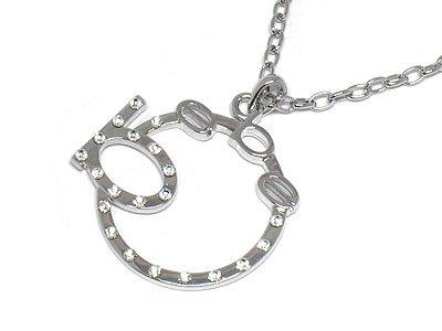 BEBE Crystal circle silver necklace pendant