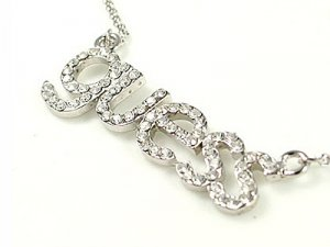 White gold plated Guess Crystal Necklace