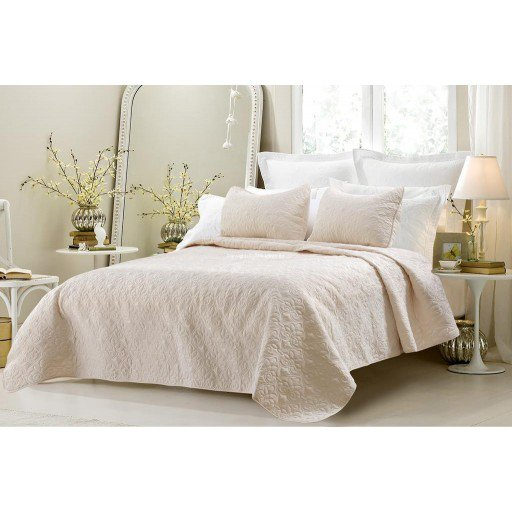 Cherry Hill Collection Oversized-3pc Quilted Coverlet Set- Ivory King