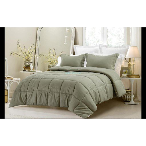 3pc Reversible Solid/ Emboss Striped Comforter Set- Oversized FULL Sage