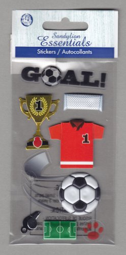 Sandylion Essentials Scrapbooking Stickers SOCCER goal team winner sports 3D - EL17