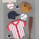 Sandylion Essentials Scrapbooking Stickers BASEBALL bat glove team winner sports 3D - EL21
