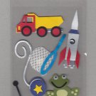 Sandylion Essentials Scrapbooking Stickers LITTLE BOY 2 truck frog spaceship sports car 3D - EL22