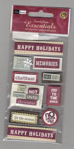 Sandylion Essentials Scrapbooking Stickers HOLIDAY WORD BLOCKS season greetings christmas 3D - EL27