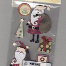 Sandylion Essentials Scrapbooking Stickers HOLIDAY SANTA christmas present tree 3D - EL28