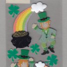 Sandylion Essentials Scrapbooking Stickers LEPRECHAUNS four leaf clover rainbow pot of gold 3D-EL33