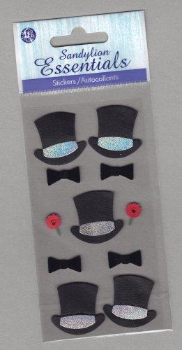 Sandylion Essentials Scrapbooking Stickers HAT BOWTIE & CORSAGE top hat formal 3D - EL34
