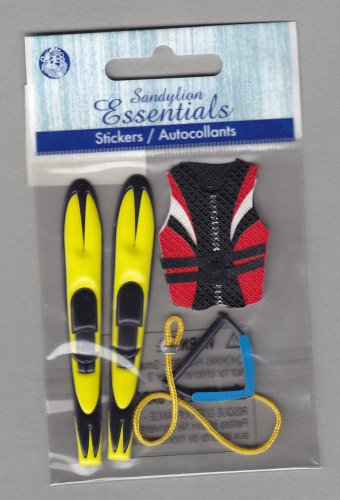 Sandylion Essentials Scrapbooking Stickers WATER SKIING life jacket rope ski sports 3D - ES04